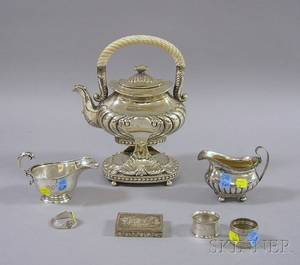 Seven Pieces of Silver and Silver Plate Serving and Vanity Items