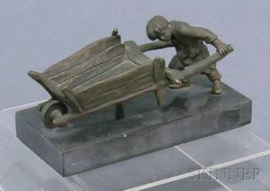 Small Russian Bronze Figure of a Boy Pushing a Wheelbarrow