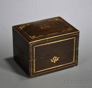 French Coromandel and Brass Tea Caddy