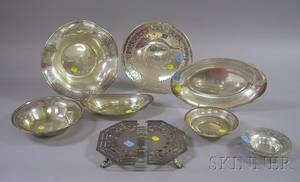 Seven Sterling Serving Dishes and a Silver Plated Trivet