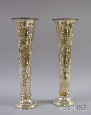 C F Kees  Company Pair of Large Repousse Silver Plated Trumpet Vases