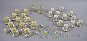 Two Sets of Twelve Sterling Demitasse Cups and Saucers and a Set of Eleven Enameled Spoons