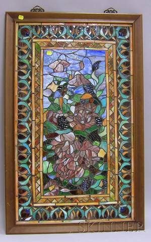 Framed Leaded Glass Panel