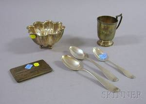 Haddock Lincoln  Foss Coin Silver Handled Cup with Three Coin Silver Spoons
