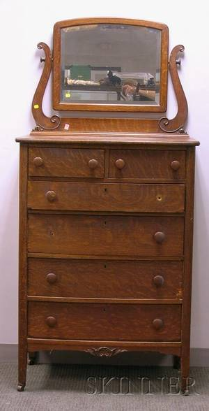 Early 20th Century Carved Oak and Oak Veneer Mirrored FiveDrawer Tall Chest
