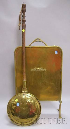 Brass Bedwarmer with Turned Wood Handle and a Brass Fireplace Screen