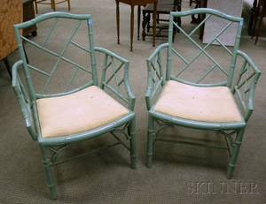 Pair of Regencystyle Upholstered Greenpainted Cockpen Armchairs
