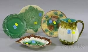 Five Pieces of Assorted Majolica Tableware