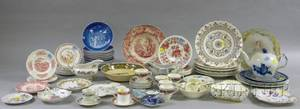 Seventythree Pieces of Decorated Porcelain and Ceramic Tableware and Items