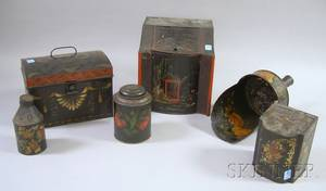 Decorated Toleware Dometop Box Tea Caddy Scoop and Three Cannisters