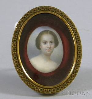 Framed 19th Century Miniature Painted Portrait on Ivory of a Young Woman