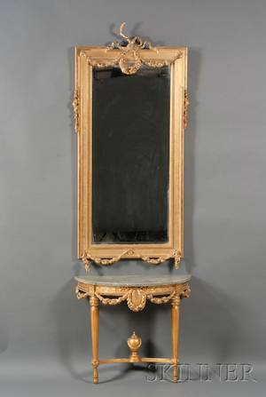 Louis XVI Style Giltwood and Gesso Pier Mirror and Marbletop Pier Table