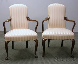 Pair of Queen Anne Style Upholstered Carved Maple Armchairs
