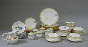 Thirtytwo Piece Spode Gilt Decorated Porcelain Partial Dinner Set a Set of Six Syllabub Cups a Set of Six Sm