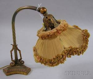 Painted Cast and Wrought Iron Adjustable DeskPiano Lamp with Silk Shade