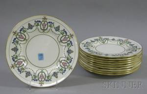 Set of Ten Mintons Enamel Decorated Porcelain Plates