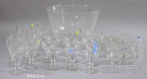 Steuben Colorless Glass Footed Punch Bowl a Set of Colorless Glass Stemware and Six Sets of Colorless Glass Punch Cups