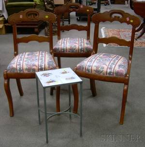 Set of Three Victorian Walnut Side Chairs with Upholstered Slip Seats and a Faience Tiletop Iron Stand