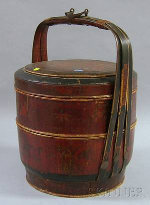 Chinese Painted Wood and Bamboo Covered Picnic Basket