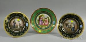 Three Viennesestyle Continental Gilt and Transfer Printed Porcelain Cabinet Plates