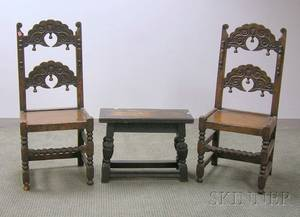 Jacobeanstyle Carved Oak Joint Stool and a Pair of Side Chairs