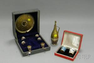 Cased Eightpiece Russian Enameled Gilt Silver Cordial Set and a Cased Pair of Russian Enameled Giltmetal Cordials