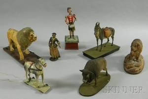 Group of Painted Composition and Carved Wooden Figural Animal Pulltoys a Windup Drummer a Painted Figure of