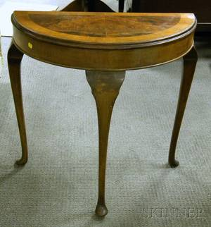 Queen Anne Style Walnut and Mahogany Veneer Demilune Pier Table
