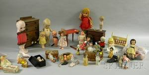 Lot of Assorted Mostly Small Modern Plastic Bisque and Porcelain Dolls Figures and Four Pieces of Wooden Do