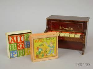 Petite Schoenhut Toy Piano and a Small Set of Wooden ABC Blocks