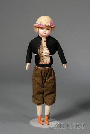 Hatted Wax Over Composition Shoulder Head Boy Doll