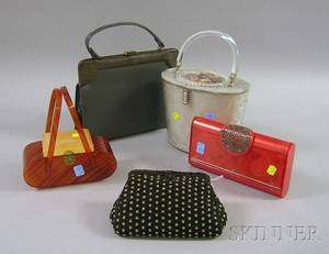 Group of Five Assorted Handbags and Clutches