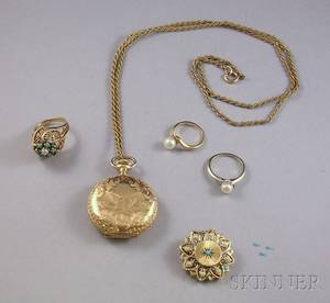 Five Mostly Gold Jewelry Items