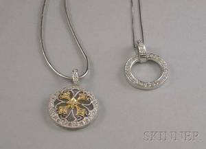 Two 14kt White Gold and Diamond Melee Pendant Necklaces