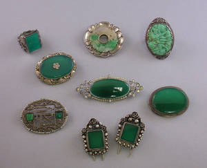 Group of Carved Jade and Green Stone Jewelry