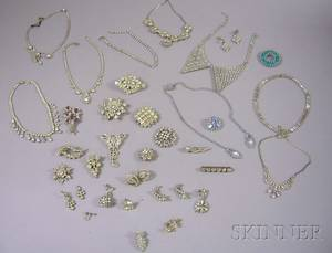 Group of Paste and Rhinestone Jewelry