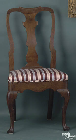 Pair of George II mahogany side chairs ca 1740