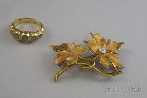 Antique 18kt Gold and Rosecut Diamond Ring and a 14kt Gold and Diamond Flower Brooch