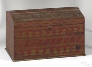 New England dome lidded pine storage box early 19th c