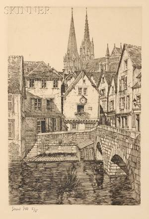 Samuel V Chamberlain American 18951975 Lot of Two Views of Chartres Porch of the Virgin of Chartres A Vista