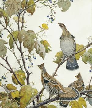 Aiden Lassell Ripley American 18961969 Grouse and Grape Vines