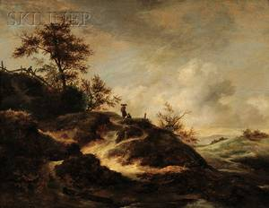 Follower of Jacob van Ruisdael Dutch c 16281682 Landscape with Dunes and Figures on a Path