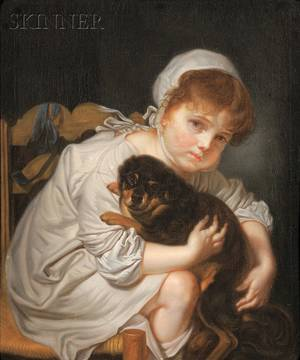 Continental School 19th Century Portrait of a Girl with Her Dog