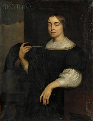 Dutch School 19th Century Portrait of a Young Woman Possibly a Sea Captains Wife