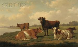 Thomas Hewes Hinckley American 18131896 Pastoral View with Cows