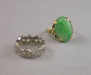 Platinum and Diamond Leafform Band and a 9kt Gold and Jade Ring