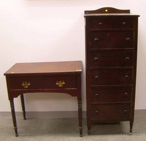 Stained Birch SevenDrawer Tall Chest and a Late Federal Mahogany and Mahogany Veneer TwoDrawer Side Table
