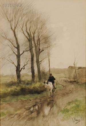 Anton Mauve Dutch 18381888 Portrait of a Rider on Horseback
