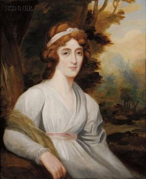 Attributed to Sir Henry Raeburn British 17561823 Portrait of a Lady in White Seated in a Landscape