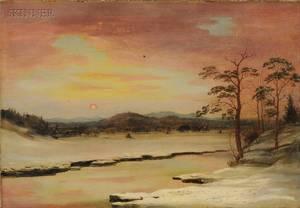 American School 19th Century Winter Landscape Possibly a View Near Olana